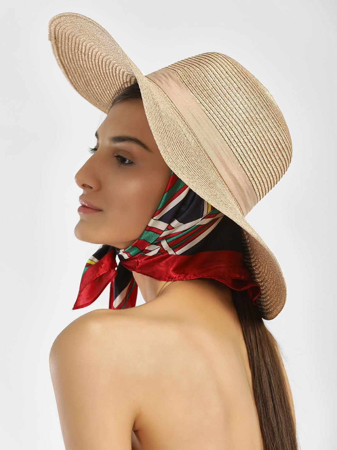 New Look Rose Gold Metallic Woven Floppy Hat 1