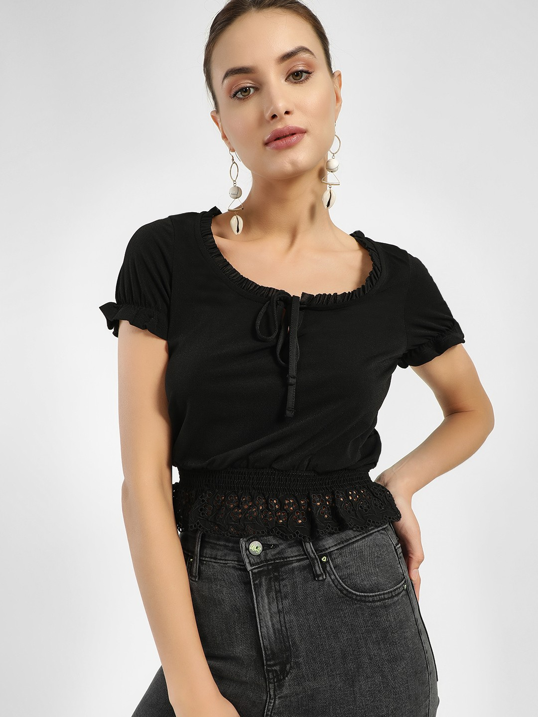 New Look Black Broderie Hem Tie-Up Blouse 1