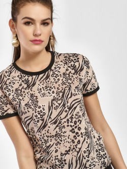 New Look Animal Print Ringer T-Shirt
