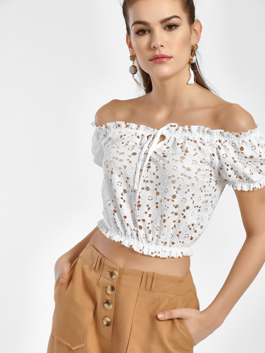 New Look Cream Lace Detail Bandeau Top 1