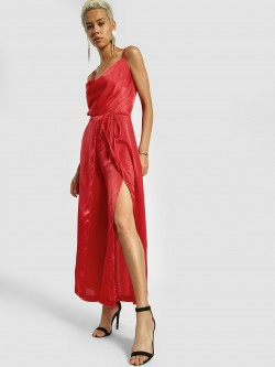 KOOVS Satin Split Leg Jumpsuit