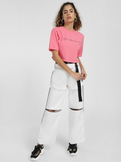 KOOVS Strappy Ripped Utility Wide-Leg Pants