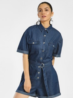 K Denim KOOVS Tie-Knot Denim Playsuit