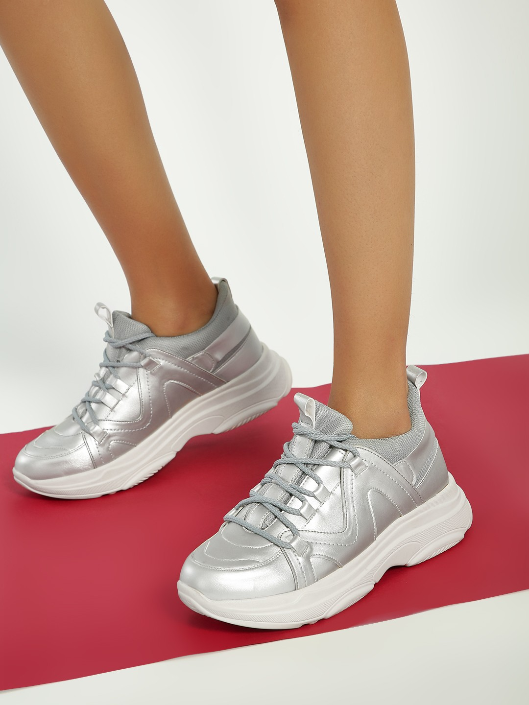 KOOVS Silver Metallic Ghillie Lace-Up Trainers 1