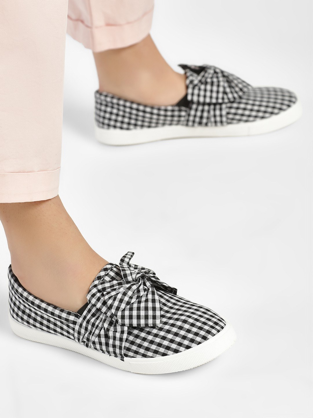 People Black Gingham Check Bow Flat Shoes 1