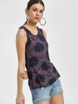 People Paisley Print Sleeveless Blouse