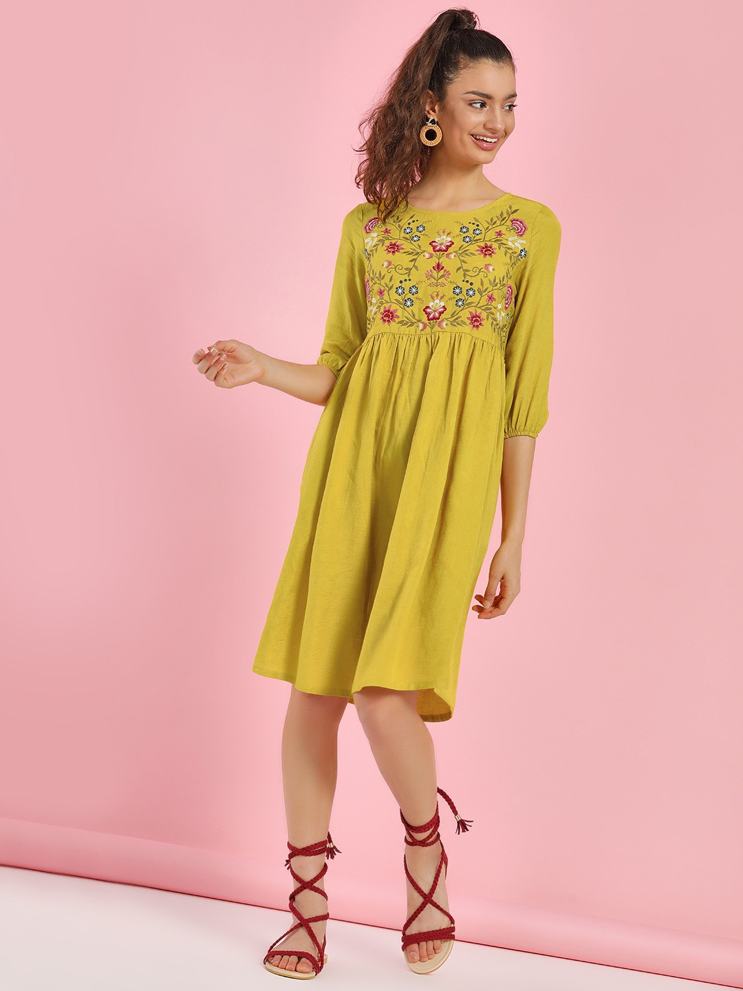 People Yellow Floral Embroidered Midi Dress 1
