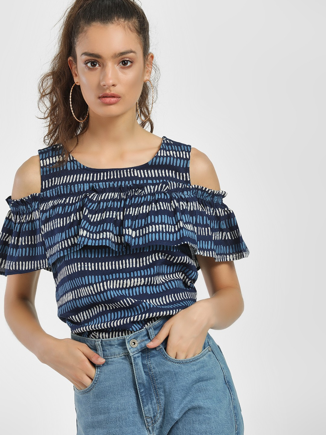 People Blue Printed Frill Cold Shoulder Blouse 1