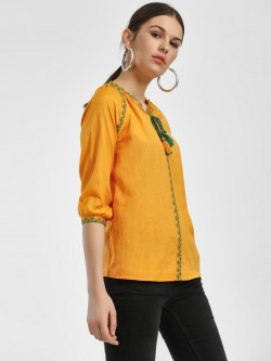 People Embroidered Border Mandarin Collar Blouse