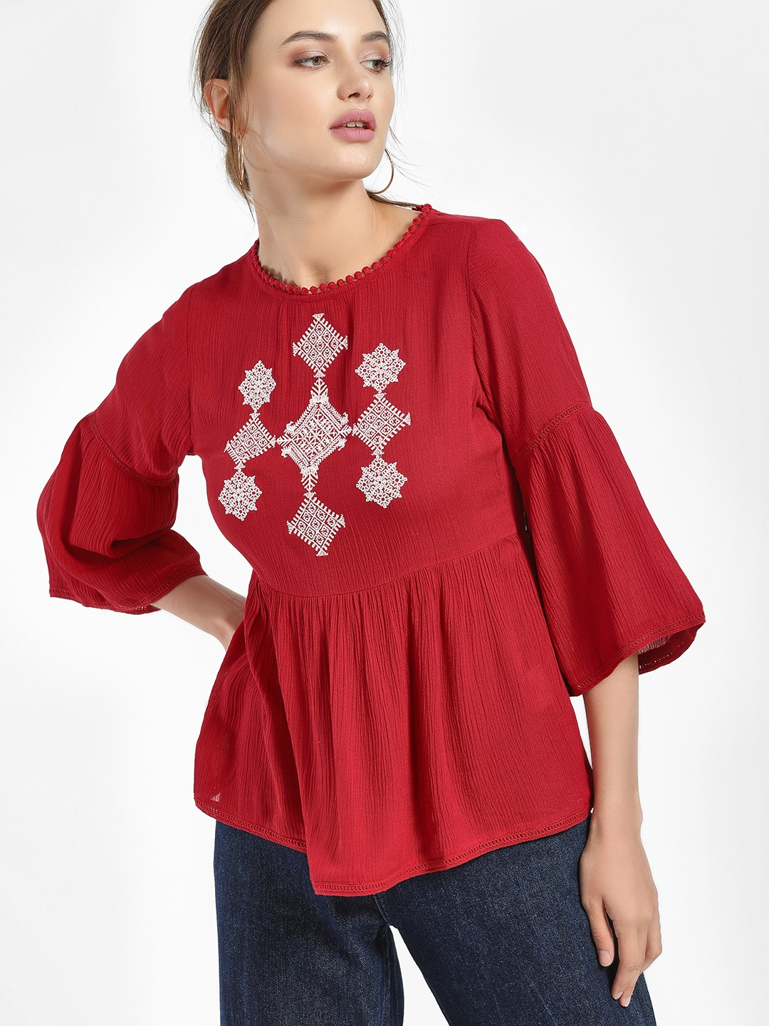People Red Moroccan Embroidered Yoke Blouse 1