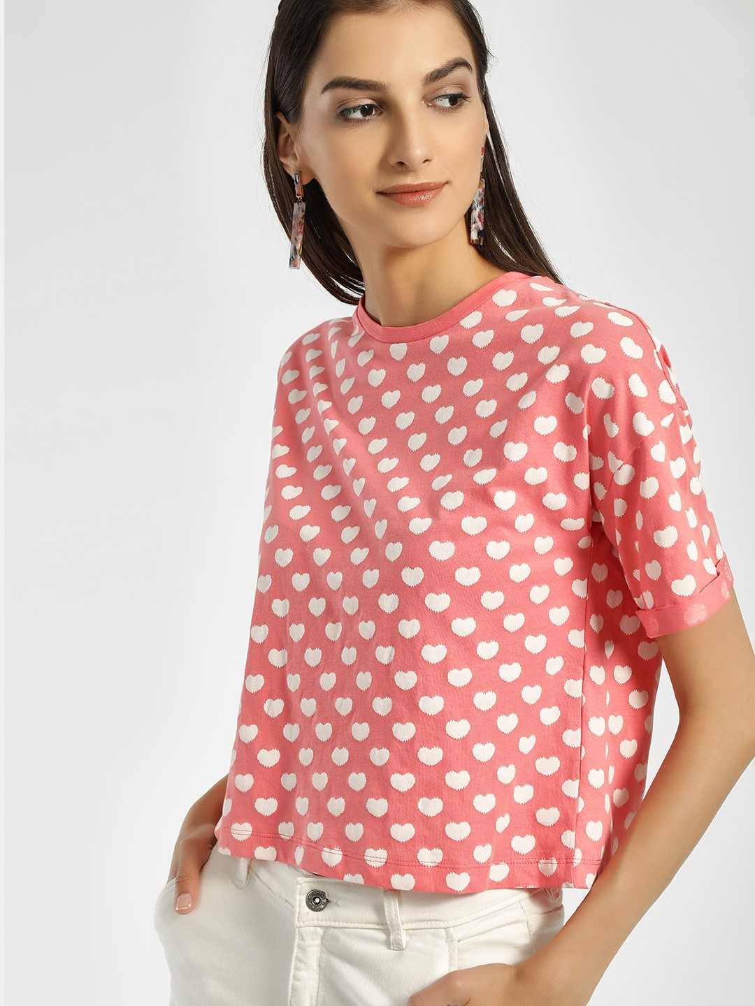 People Pink Heart Print Crop T-Shirt 1