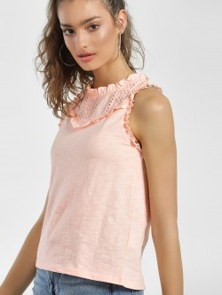 People Broderie Detail Sleeveless Blouse