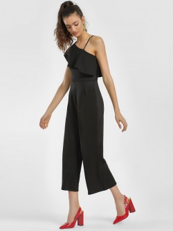 People Frill Overlay One Shoulder Jumpsuit
