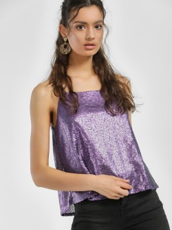 People Square Neck Sequinned Cami Top