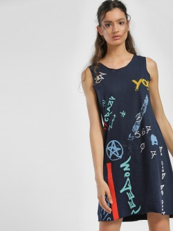 People Abstract Print Shift Dress