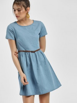 People Round Neck Skater Dress