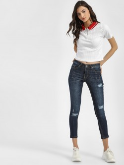 People Distressed Cropped Skinny Jeans