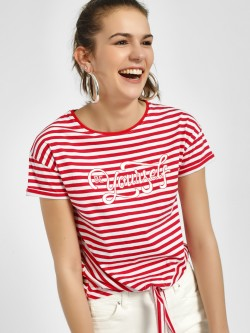 People Multi Stripe Tie-Knot T-Shirt