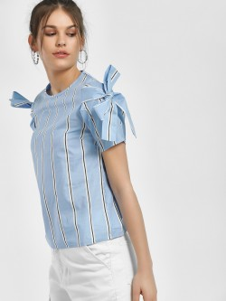 People Striped Tie Knot Sleeve Blouse
