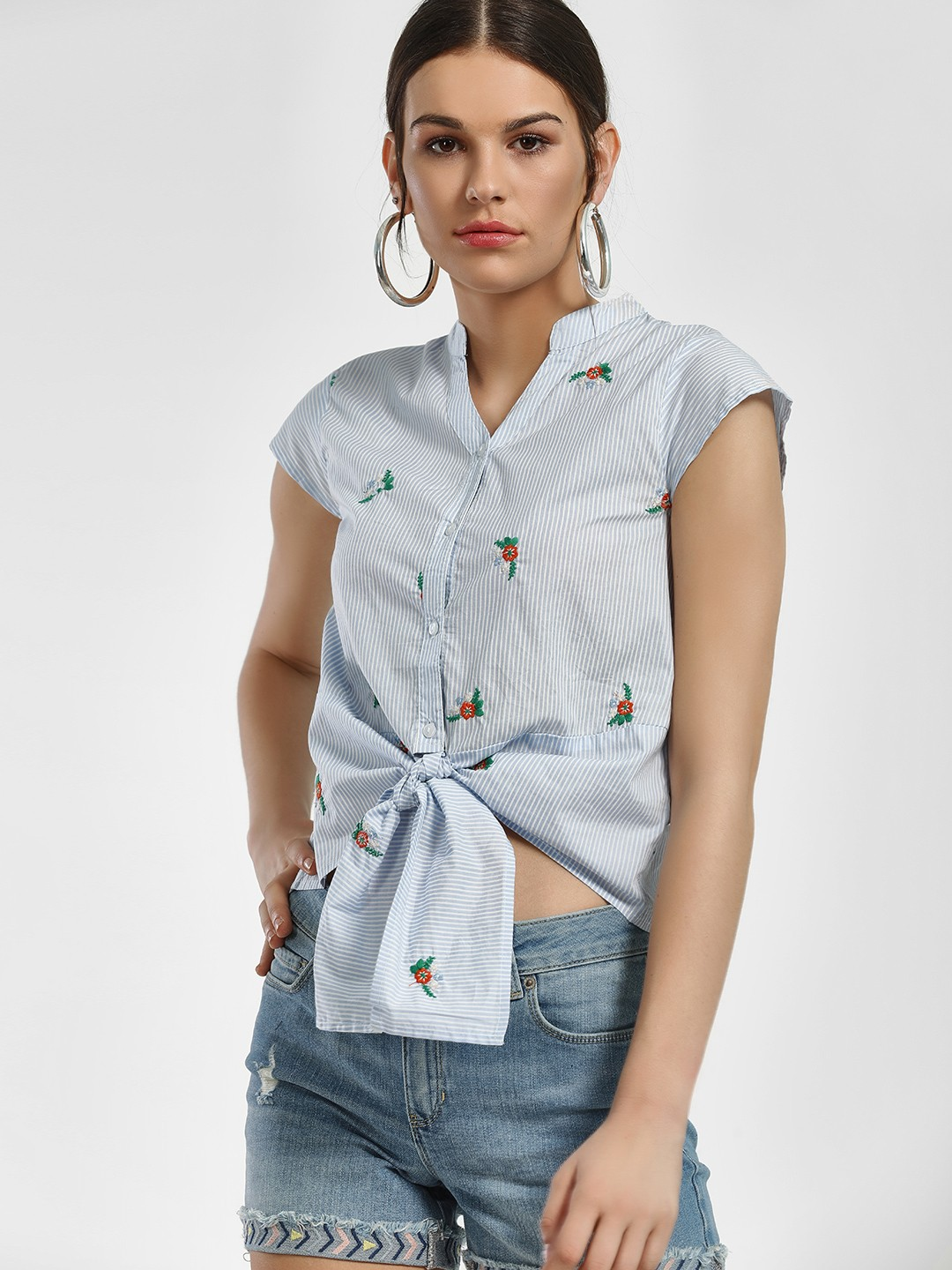 People Blue Stripe Floral Embroidered Knot Shirt 1