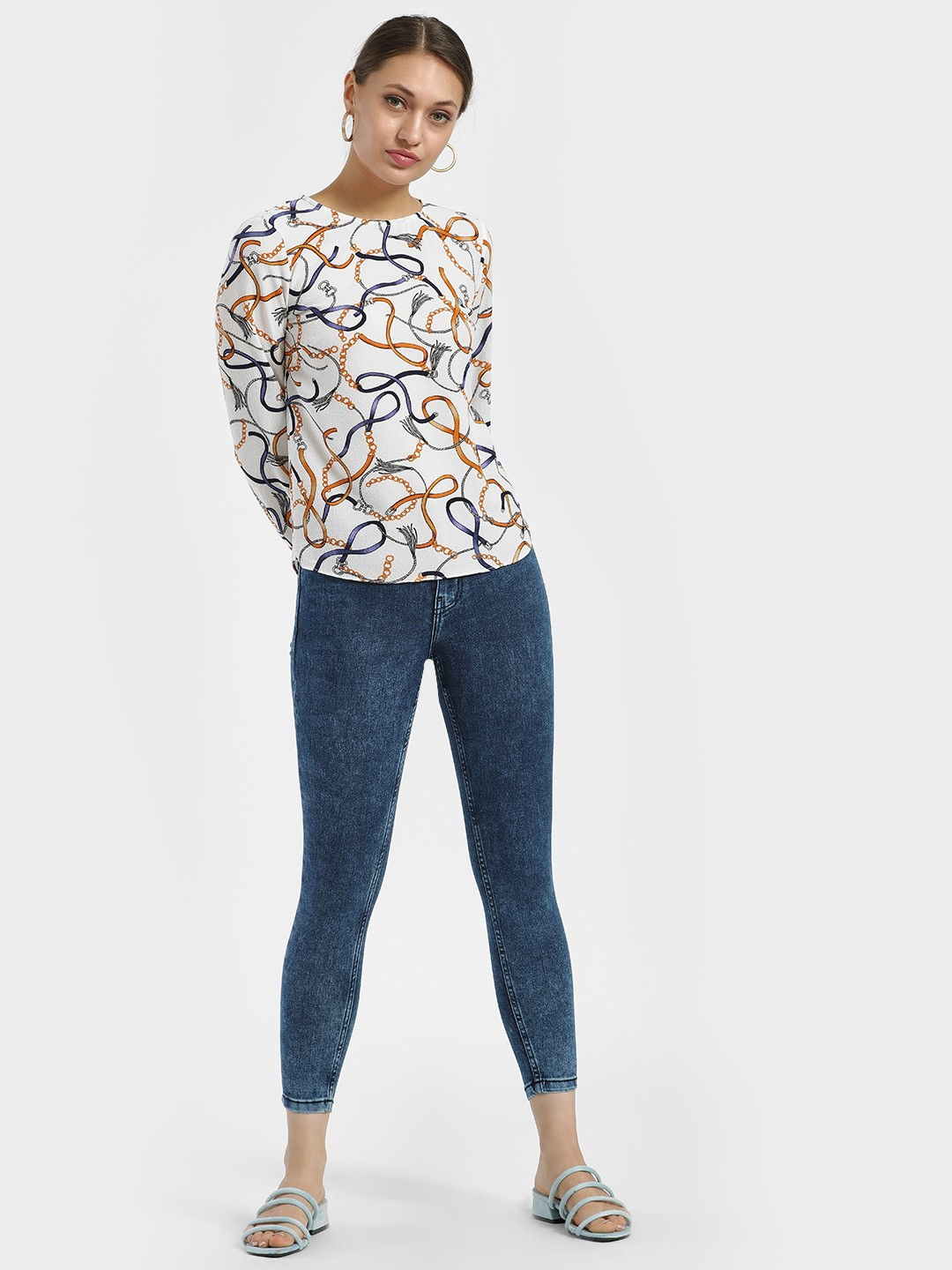 People Blue Mid Wash Cropped Skinny Jeans 1