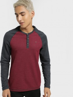Lee Cooper Henley Neck Raglan Sleeve T-Shirt