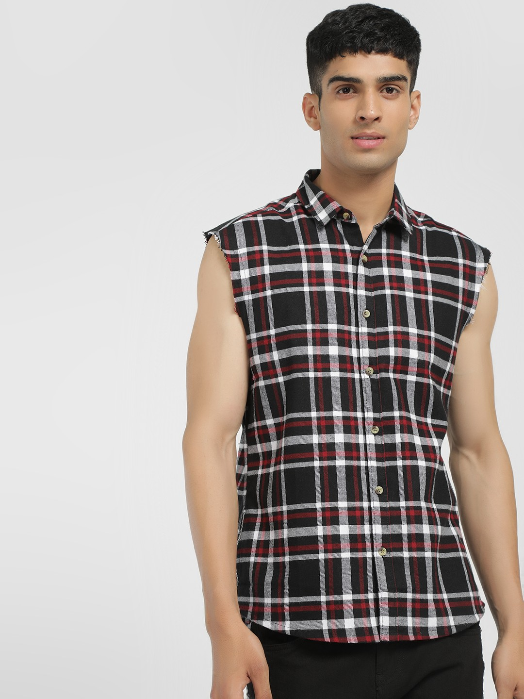 TRUE RUG Multi Back Print Multi-Check Sleeveless Shirt 1