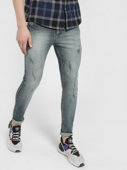 TRUE RUG Distressed Light Wash Skinny Jeans