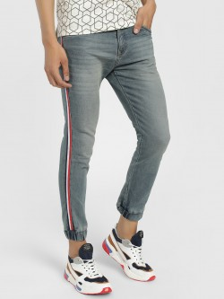 TRUE RUG Side Tape Cuffed Skinny Jeans