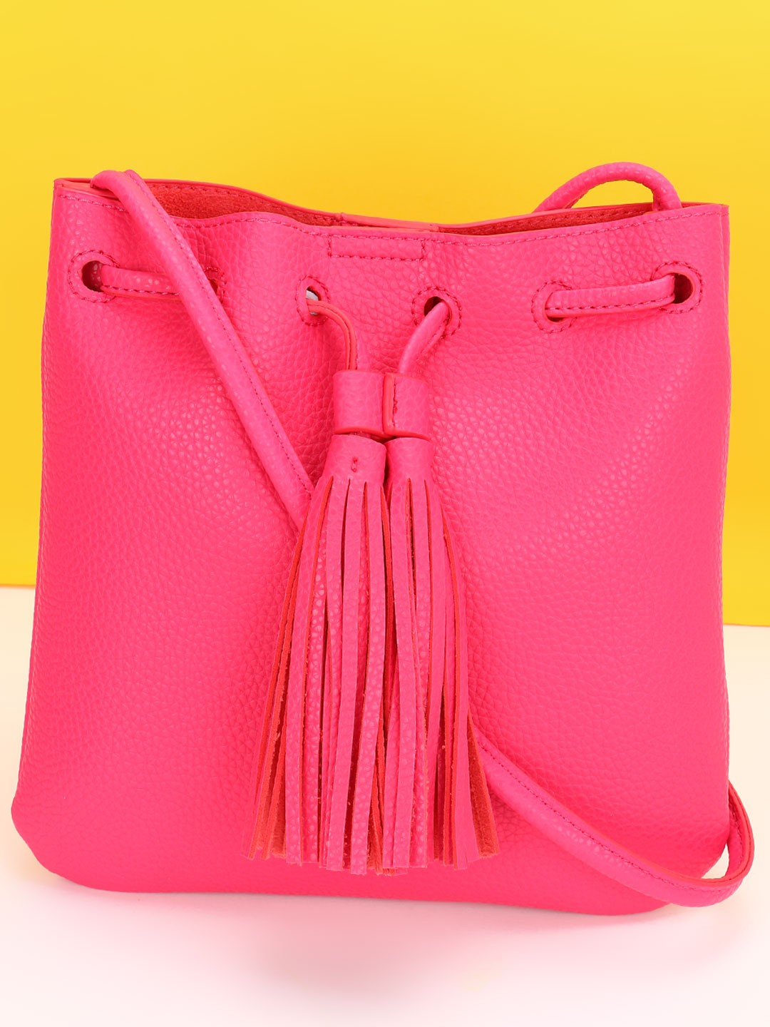 Red Cuckoo Pink Tassel Trim Sling Bag 1