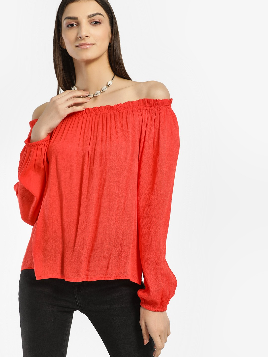 Rena Love Coral Ruffled Neck Bandeau Top 1