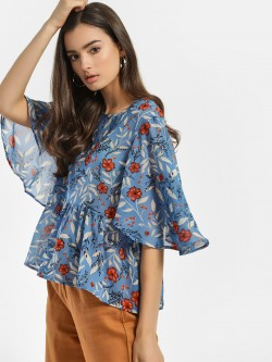 Rena Love Floral Tropical Print Peplum Blouse