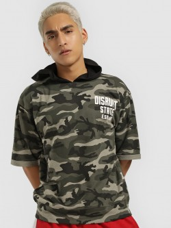 Disrupt Camo Print Hooded T-Shirt