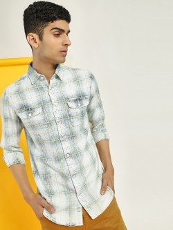 Disrupt Washed Check Print Casual Shirt