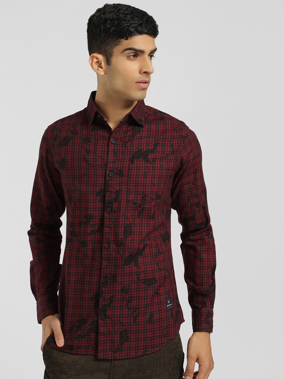 Disrupt Red Check Floral Print Casual Shirt 1