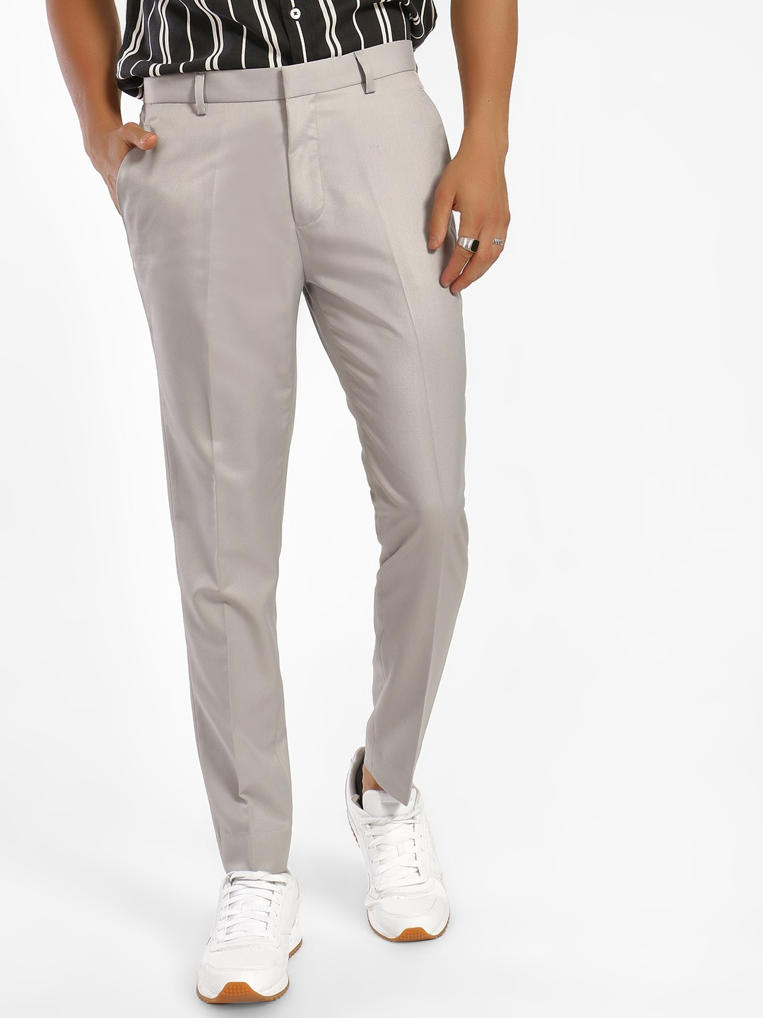 KOOVS Grey Slim Fit Formal Trousers 1