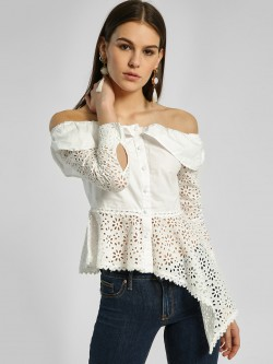 HEY Broderie High-Low Off-Shoulder Top