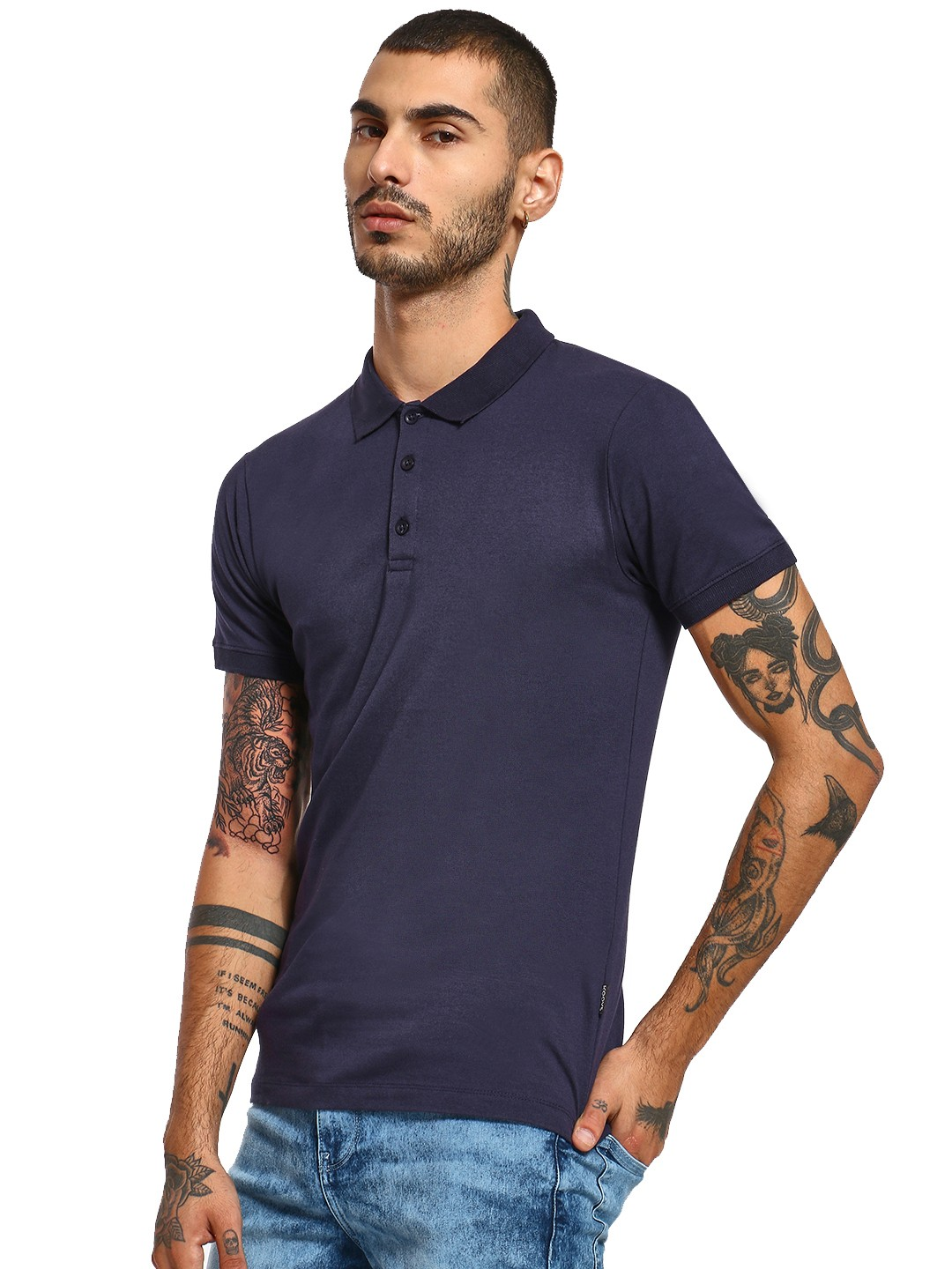 KOOVS Navy Muscle Fit Jersey Polo Shirt 1