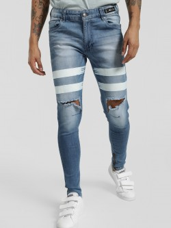 Kultprit Ripped Knee Striped Skinny Jeans