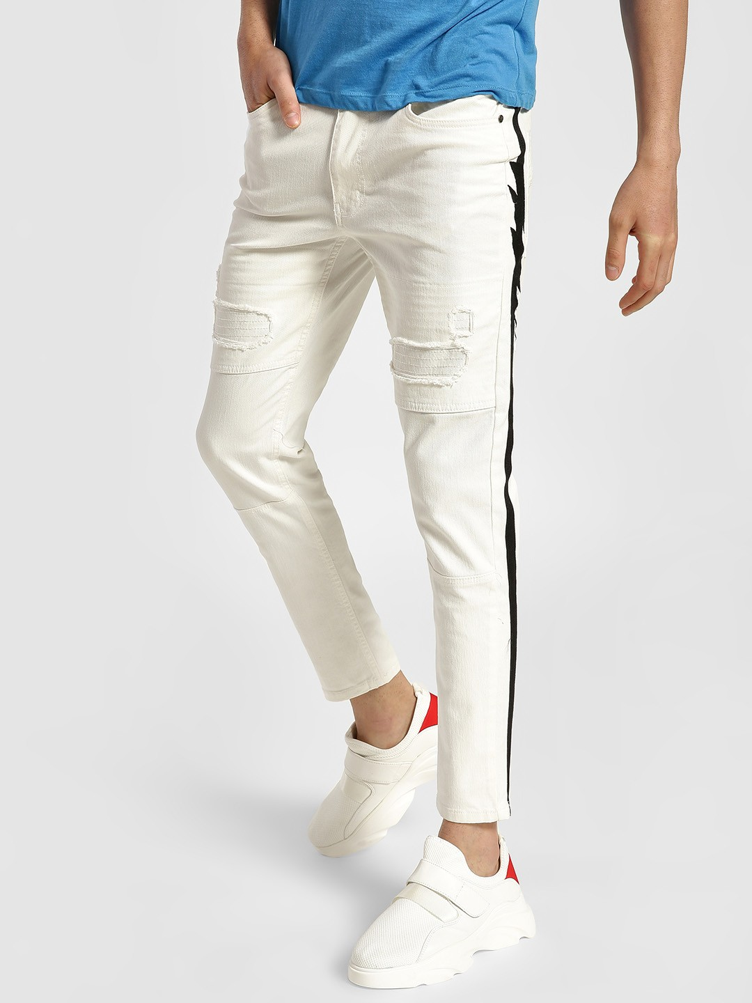 Kultprit White Contrast Side Tape Distressed Panelled Jeans 1
