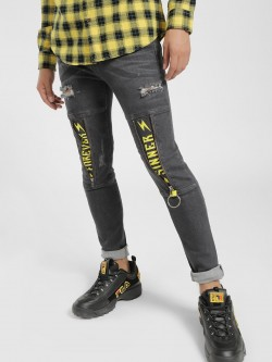 Kultprit Mid-Wash Distressed Panel Skinny Jeans