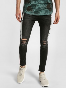 Kultprit Contrast Splatter Side Tape Distressed Jeans