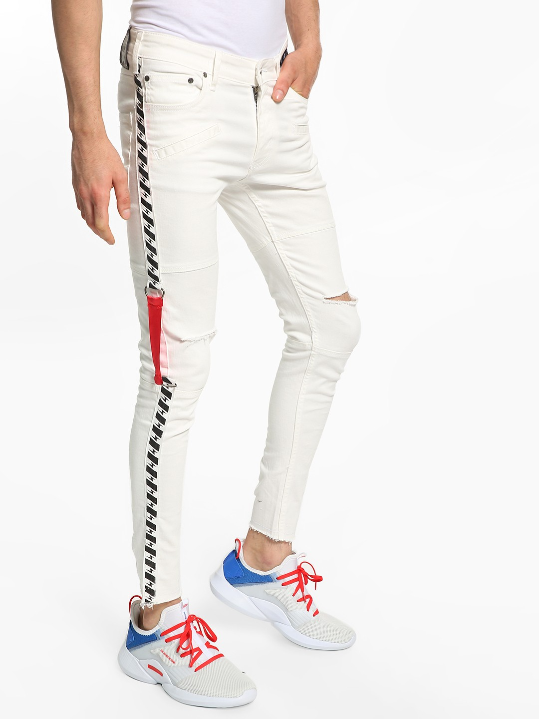 Kultprit White Side Tape Ripped Skinny Jeans 1