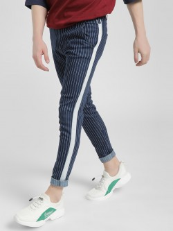 Kultprit Contrast Side Tape Vertical Stripe Trousers