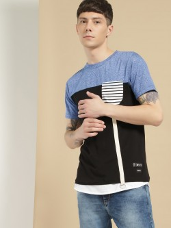Kultprit Colour Block Contrast Tape T-Shirt