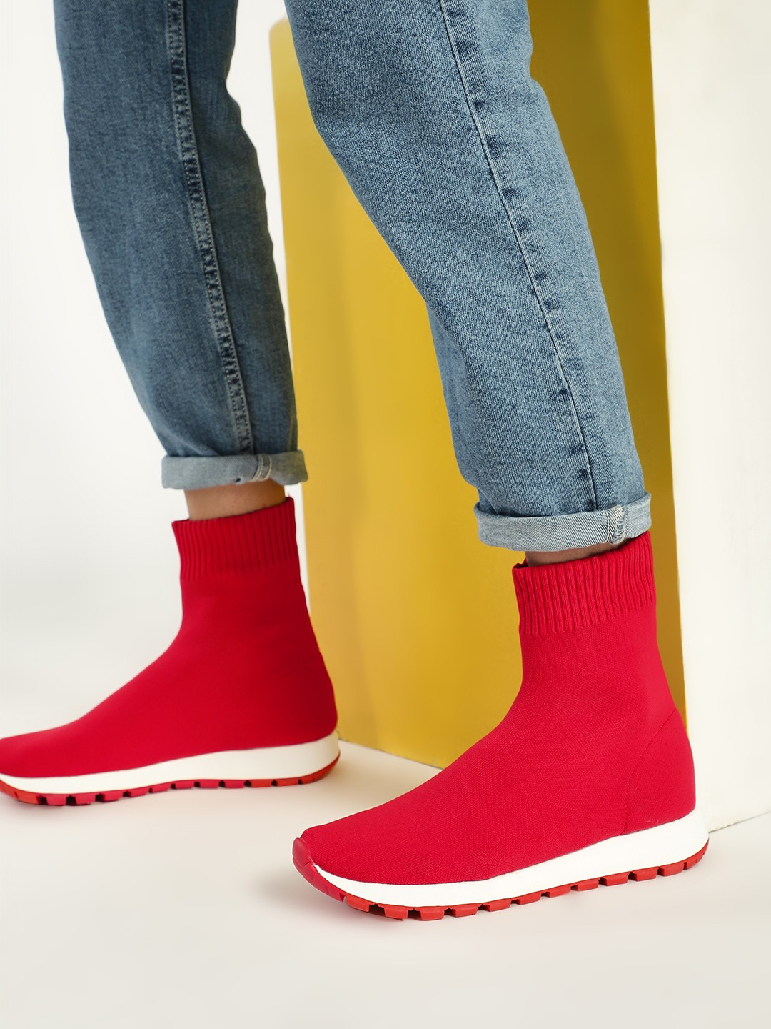Sole Story Red Knitted Sockliner Trainers 1