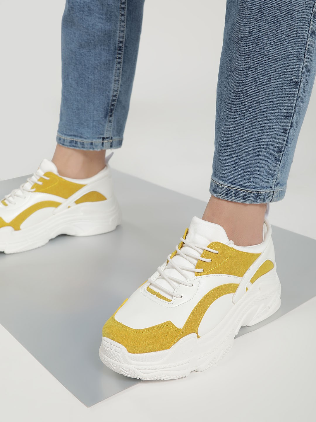 Sole Story Yellow Chunky Sole Patch Up Trainers 1