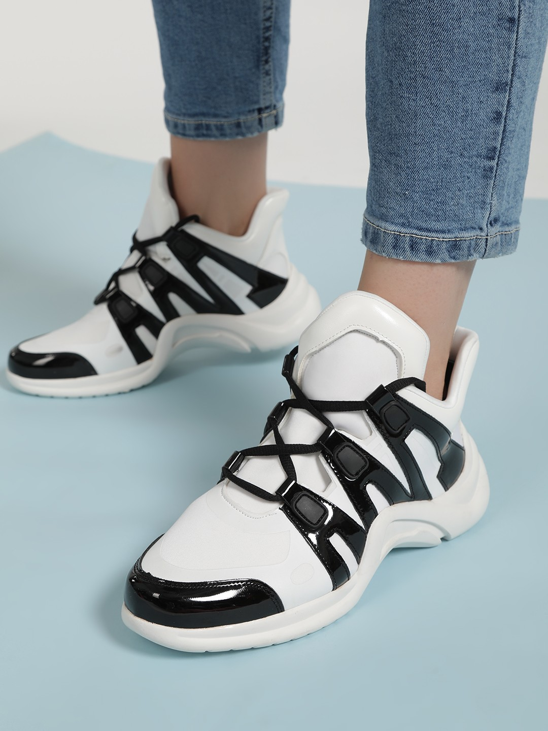 Sole Story White Colour Block Panel Chunky Trainers 1