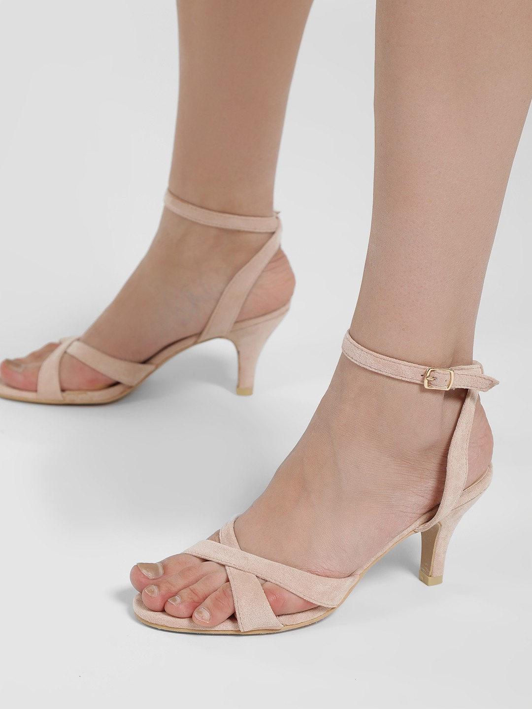Sole Story Pink Suede Slingback Kitten Heeled Sandals 1