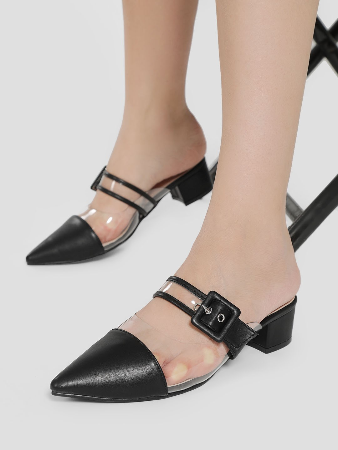My Foot Couture Black Clear Buckle Strap Heeled Shoes 1